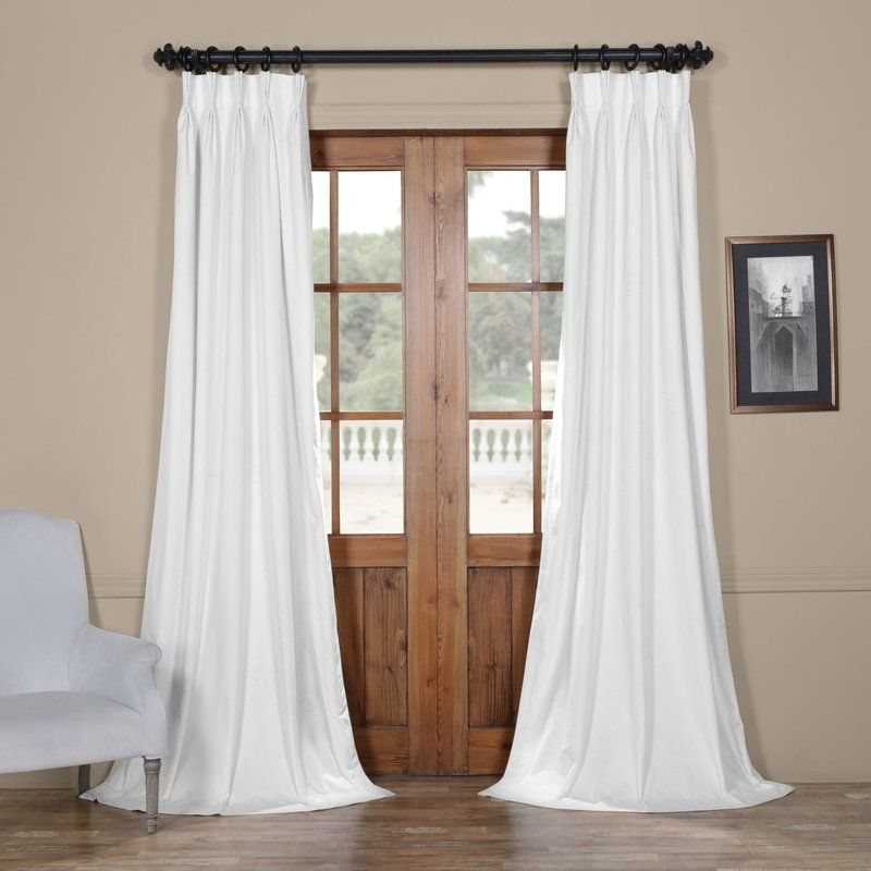 Balone Velvet Solid Blackout Thermal Pinch Pleat Single Curtain