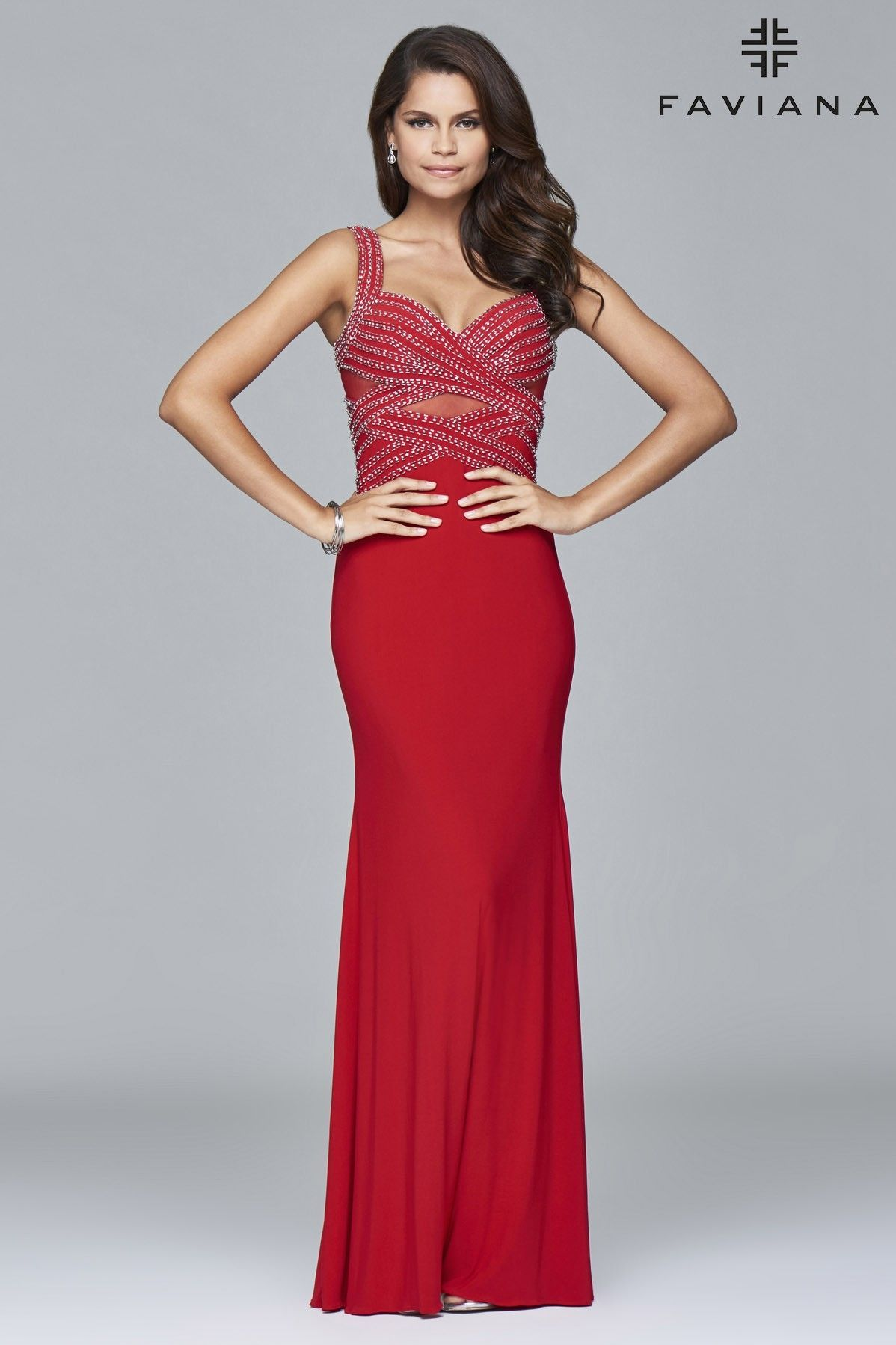 jersey sweetheart evening dress with detail beading and front cut