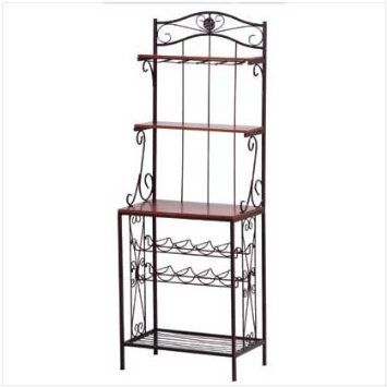 Amazon Com Kitchen Bakers Rack Style Wine Bottle And Glass Stand