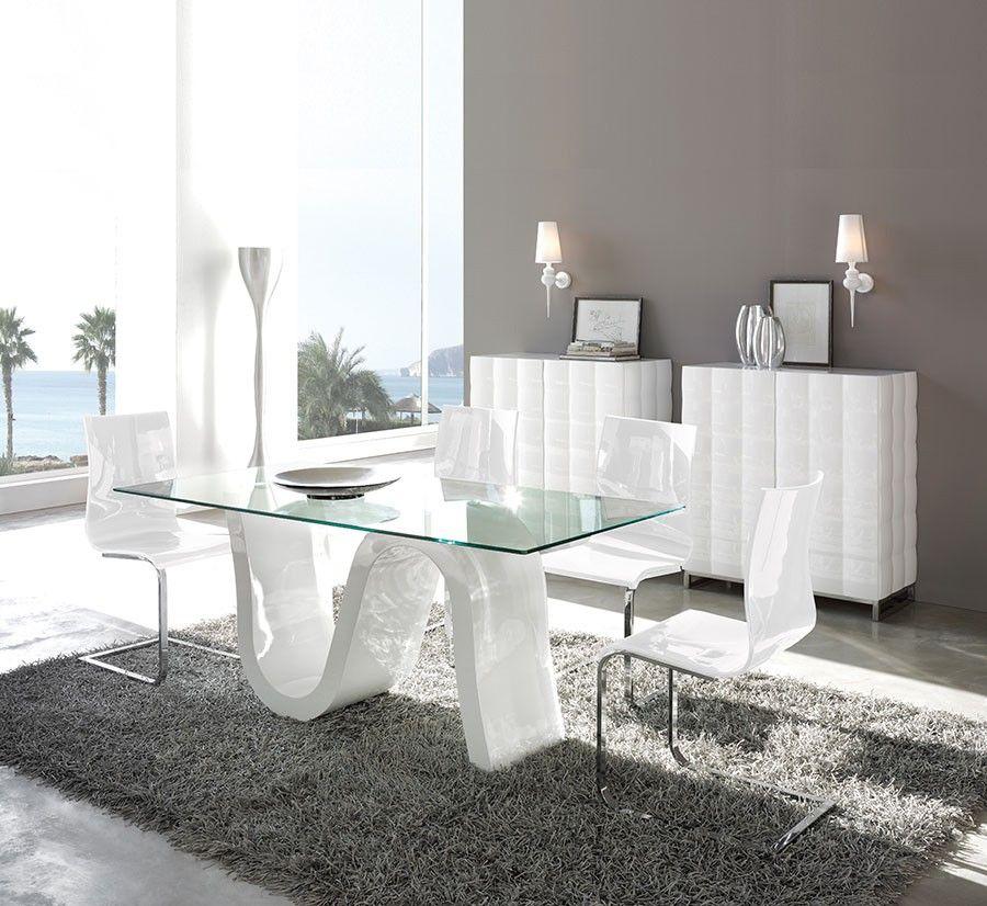 Table de salle manger rectangulaire design corona coloris blanc avec plateau en verre tremp - Table en verre trempe blanc ...