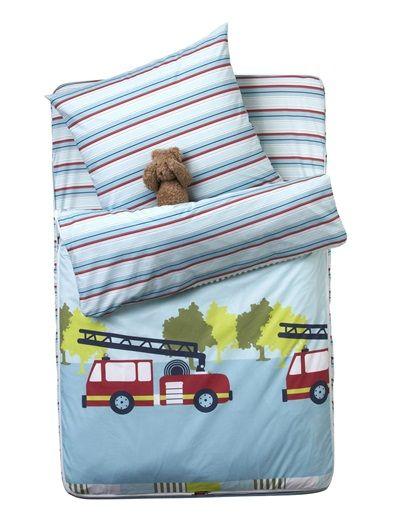 Vertbaudet 4 Teiliges Schlafsack Set Mit Decke In Blau Feuerwehr Bettwasche Feuerwehr Schlafsack Kinder Zimmer Ideen
