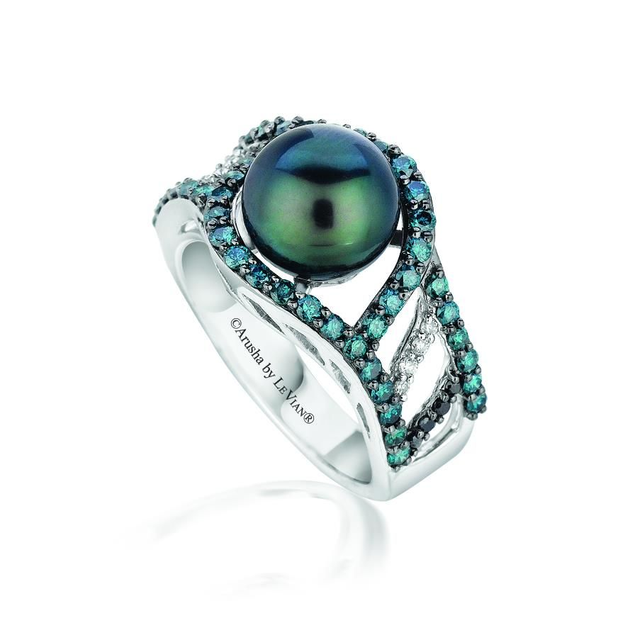 Artist Proof Le Vian Exotic ring with Blackberry Diamonds, Blueberry Diamonds and Boysenberry Tahitian Pearl