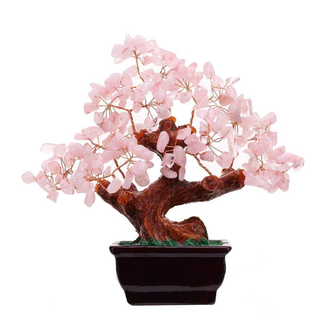 Natural Rose Quartz Crystal Feng Shui Money Tree Wealth Good Luck Bonsai Style Desk Decor Money Tree Bonsai Bonsai Styles Money Trees