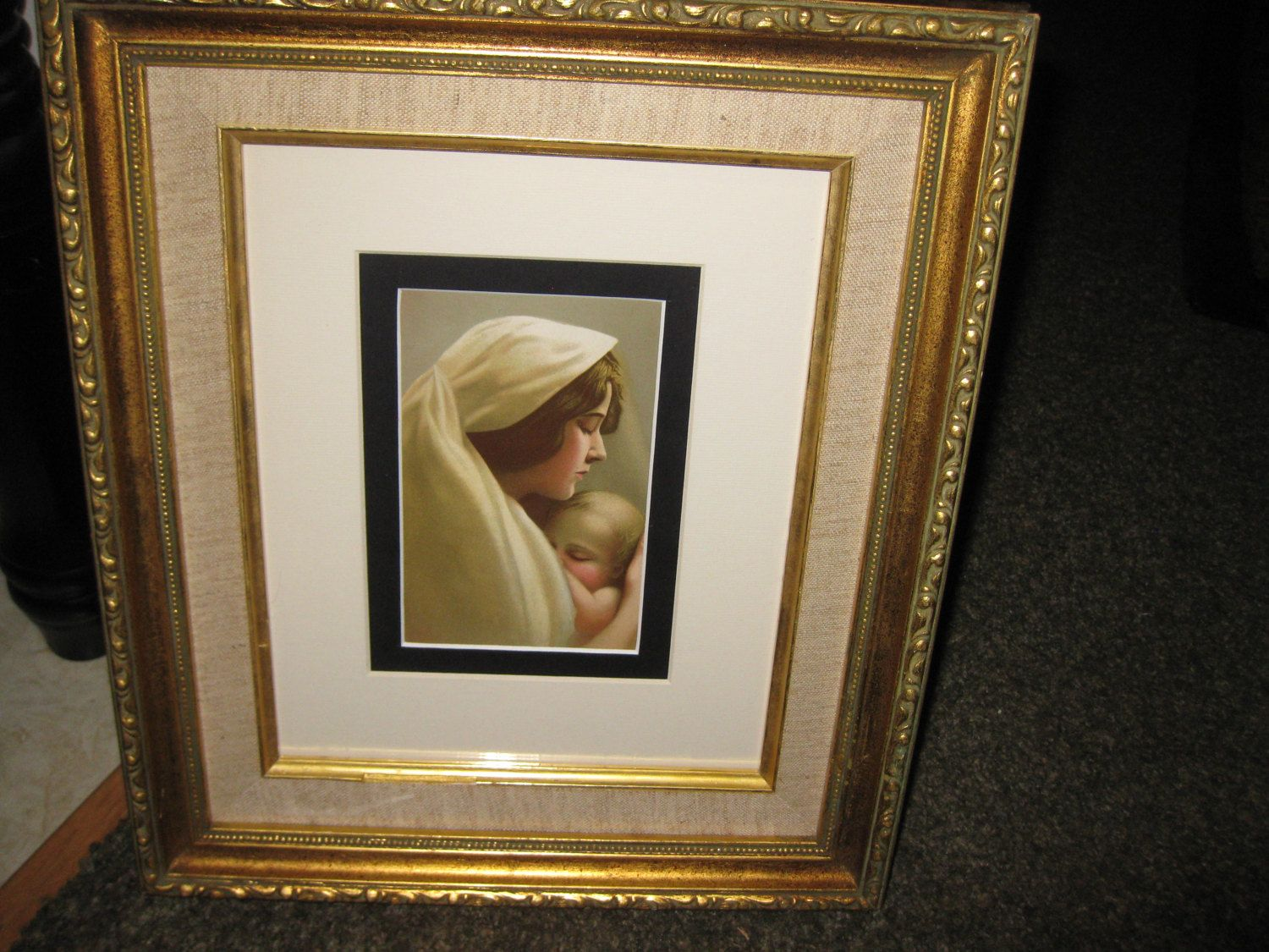 Mother And Child 1911 Print In Wood Frame 12 X 14 Double Matted In