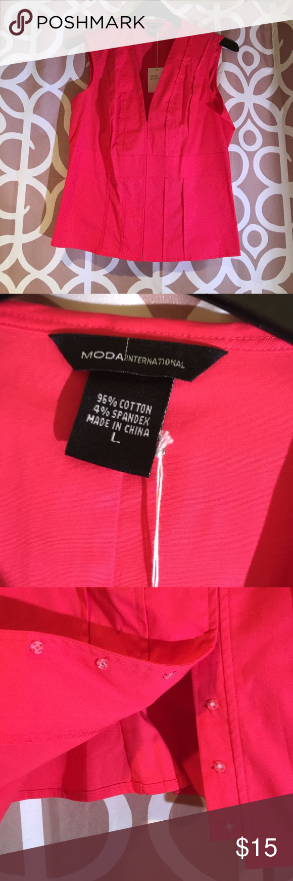 Victoria Secret Moda Int. top in dark pink Purchased but never worn from Victoria Secret. Runs small. Plastic snaps up the front and pleating in the back. Extra snaps included. Pristine condition. 96% cotton and 4% spandex material. Very classy! Moda International Tops Button Down Shirts