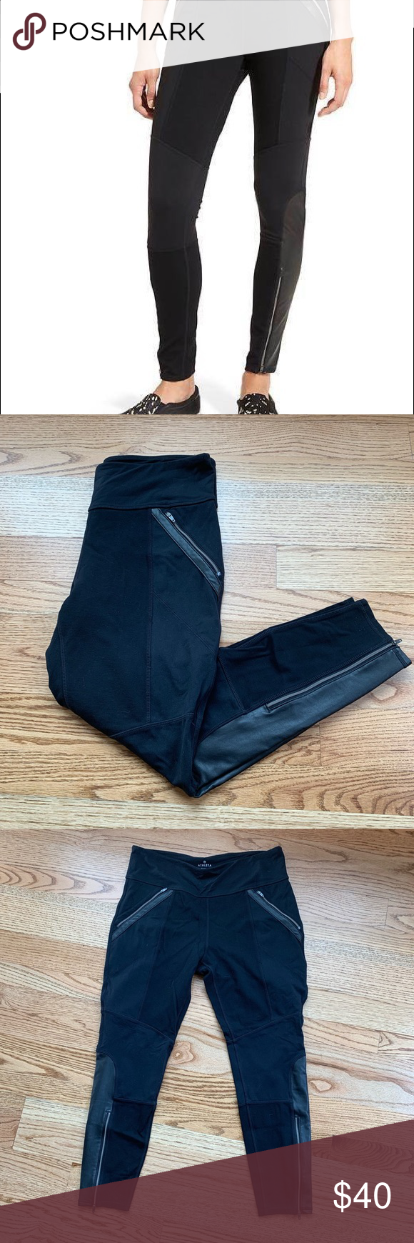 b119c5c4c8b184 Athleta | Ponte Luxe Faux Leather Zip Legging XL Athleta brand thick Moto-  style leggings