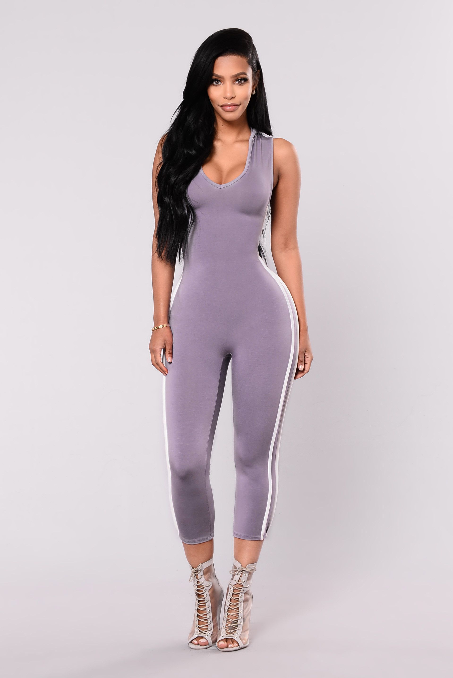 cd326616d0 Available In Black White And Lavender White Capri Jumpsuit 95% Rayon 5%  spandex Made In USA