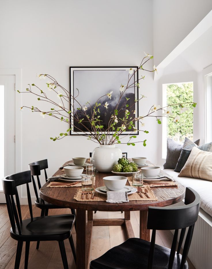 Simple Dining Room Design Wooden Black Chairs Wood Farmhouse