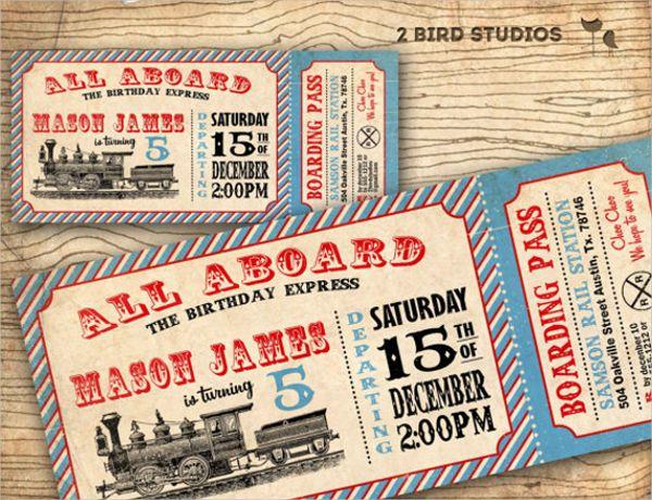 Printable Vintage Train Invitation Ticket Template