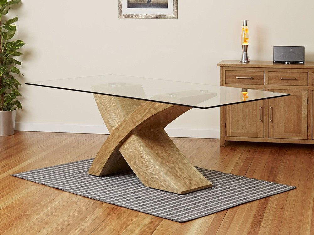 2 Metre Glass Top Dining Table With Oak Cross Base 1home Oak