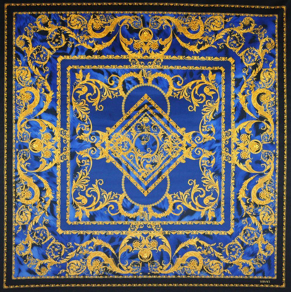 versace medusa blue tiger velvet fabric 54 x 54 ebay - Versace Muster