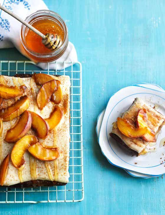 Honey and peach cake with honey creme fraiche icing http://www.sainsburysmagazine.co.uk/recipes/baking/tray-bakes-and-slices/item/honey-and-peach-cake-with-honey-creme-fraiche-icing