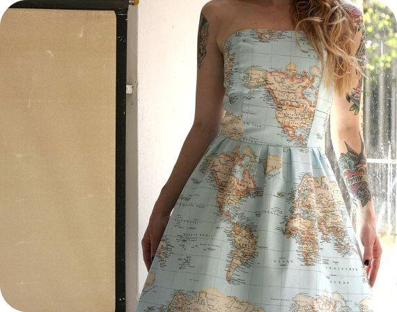 World map printed strapless cotton summer dress by cruelcandy world map printed strapless cotton summer dress by cruelcandy gumiabroncs Choice Image