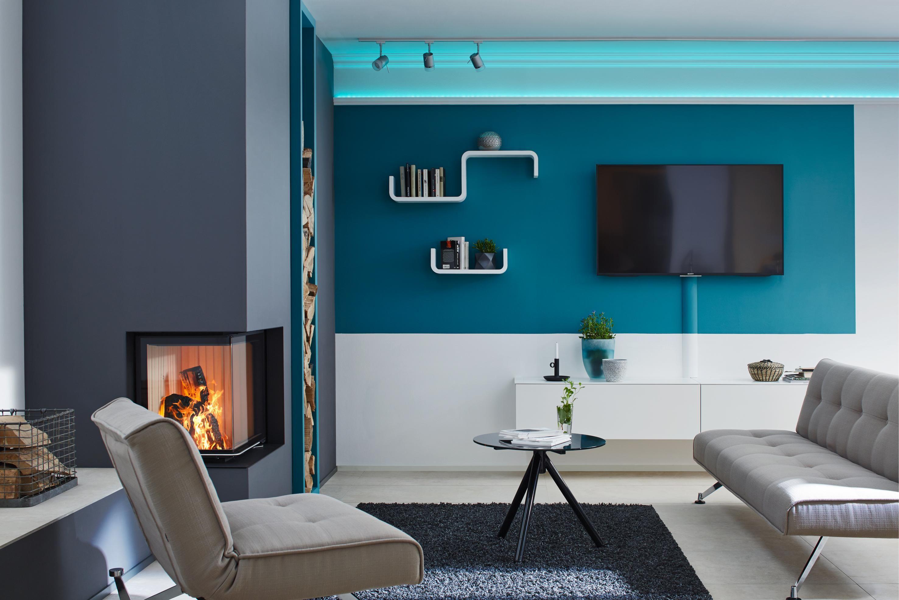 Moderne Wandgestaltung #wohnzimmer ©Saarpor | Akzentwand | Pinterest