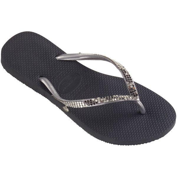 cc332873853 Havaianas Flip-flops - Slim Metal Mesh Dark Grey ( 60) ❤ liked on Polyvore  featuring shoes