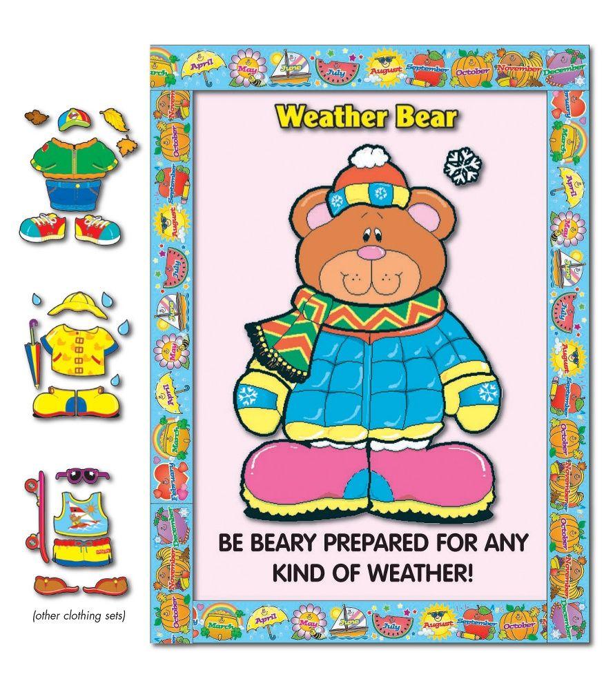 Bear themed bulletin boards weather bear bulletin board for Calendar bulletin board printables