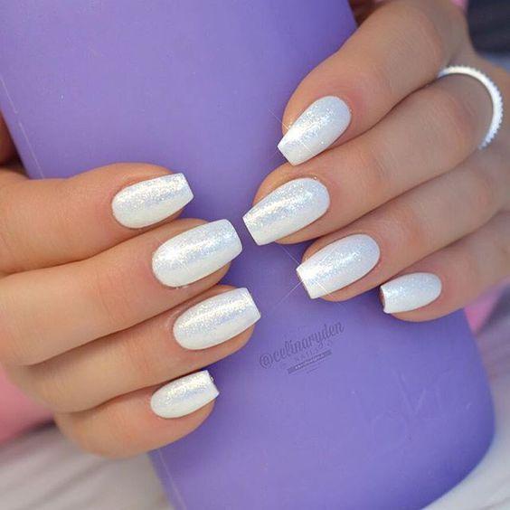 Uñas Color Blanco Perla Nails