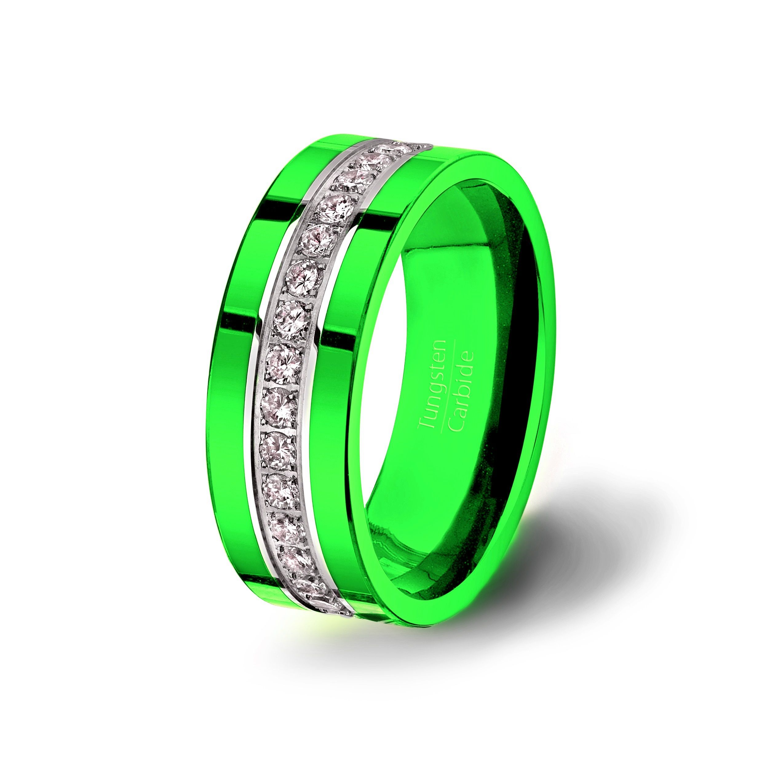 Tungsten Carbide Ring Stacked Fully With Brilliant AAA Cubic