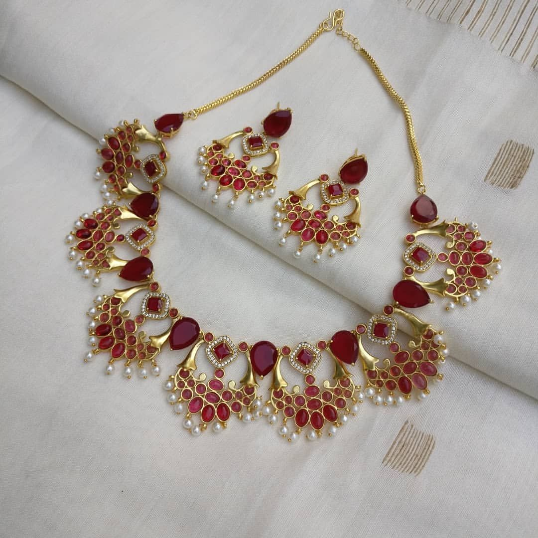 73e077dbc4370 Beautifully crafted red stone necklace set, goes will all ...