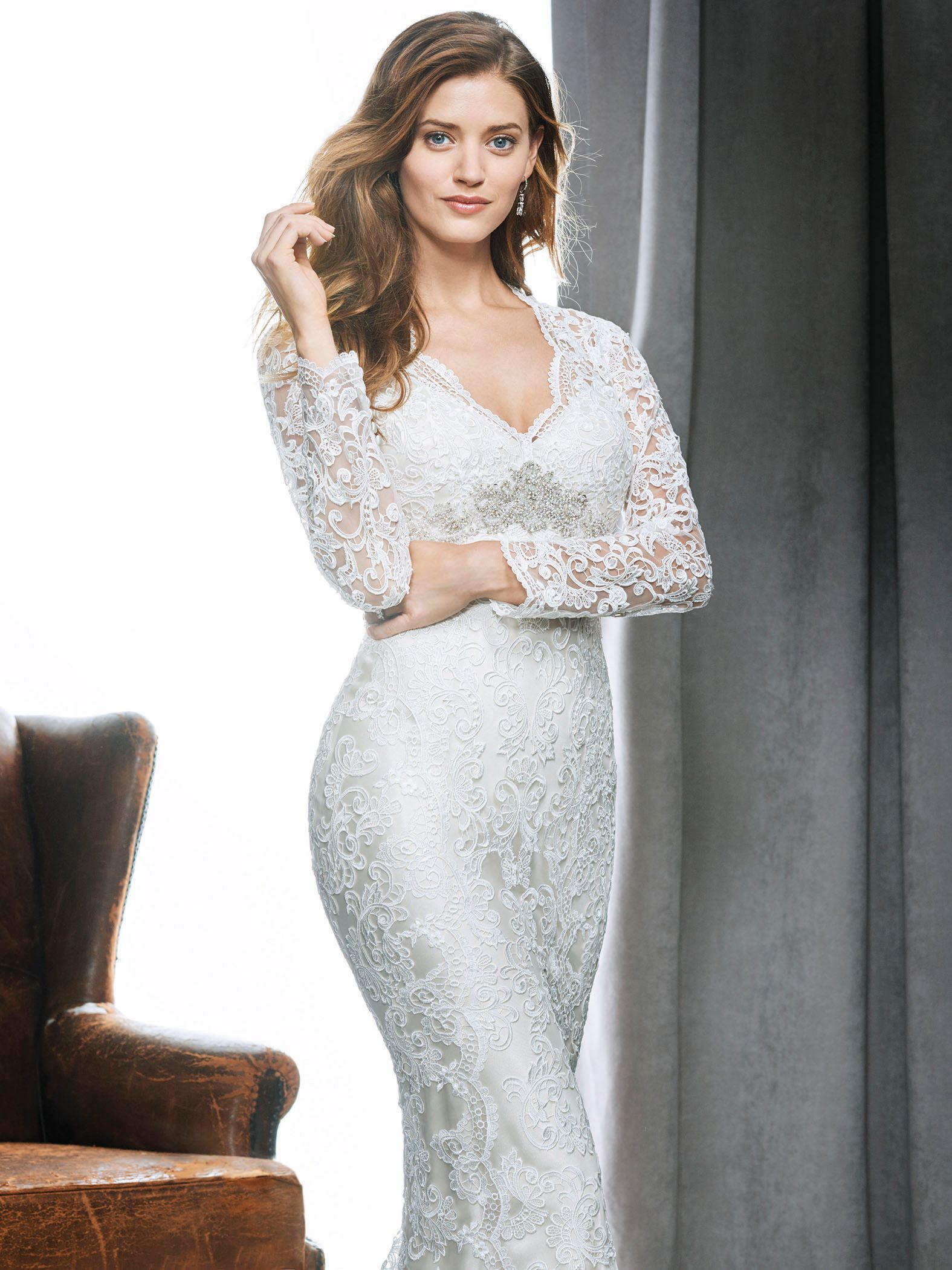 Kenneth winston style allover lace gown with longsleeves