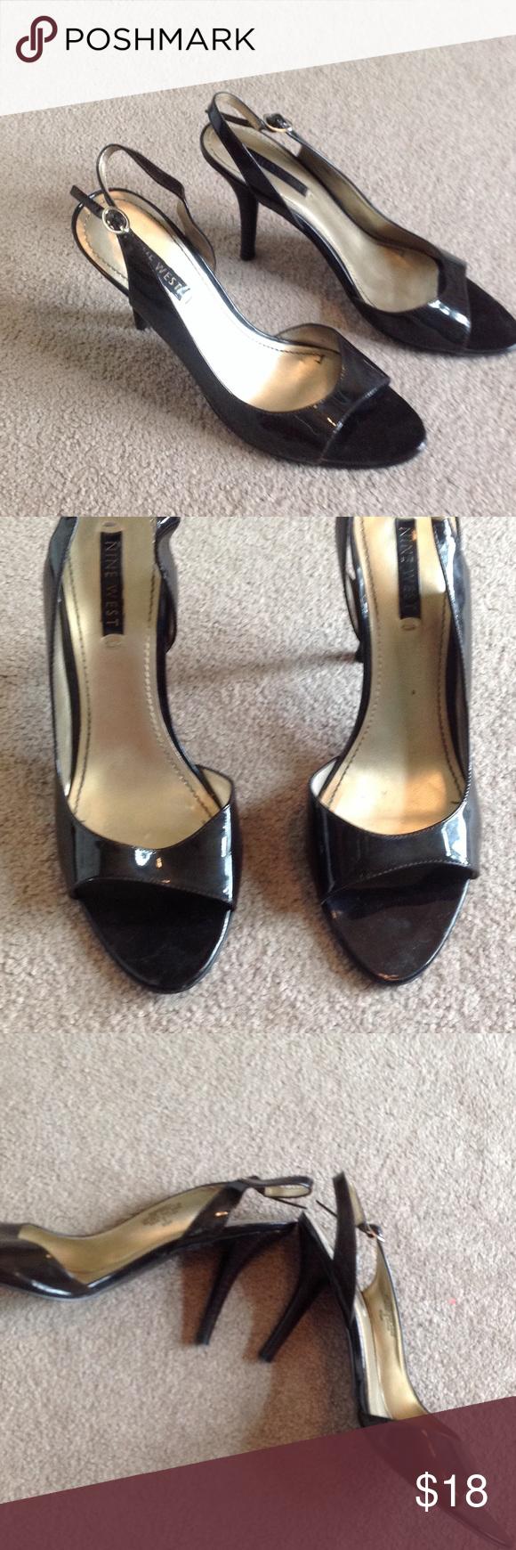 Black peep toe Nine West heels Buckle at the ankle. Leather upper. 4 inch heel. KG Nine West Shoes Heels