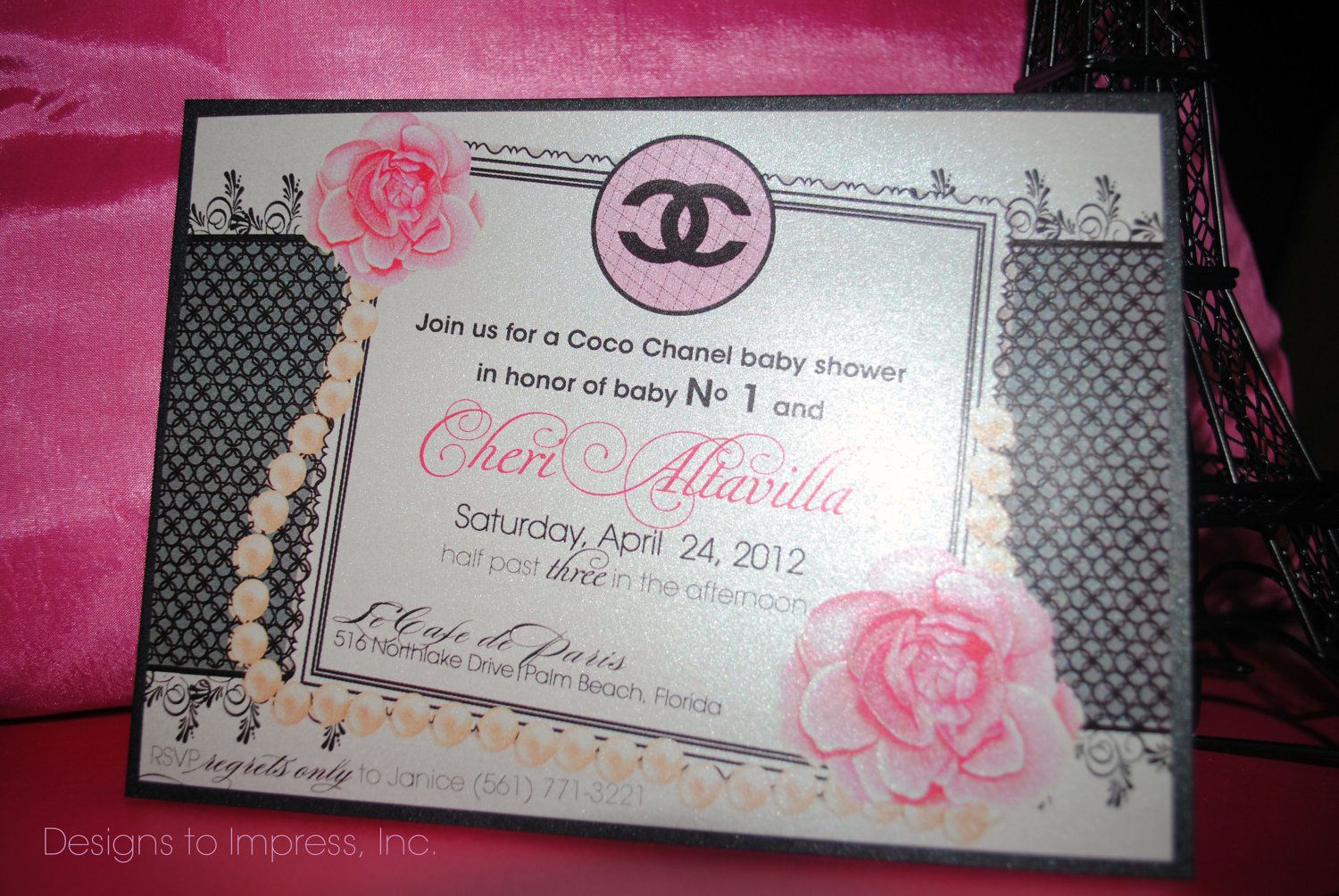 Reserved listing for nicole gonzalez 60 coco chanel baby shower set of 10 coco chanel shower invitations wedding baby bridal pink flowers pearls elegant classy designer themed stationery filmwisefo