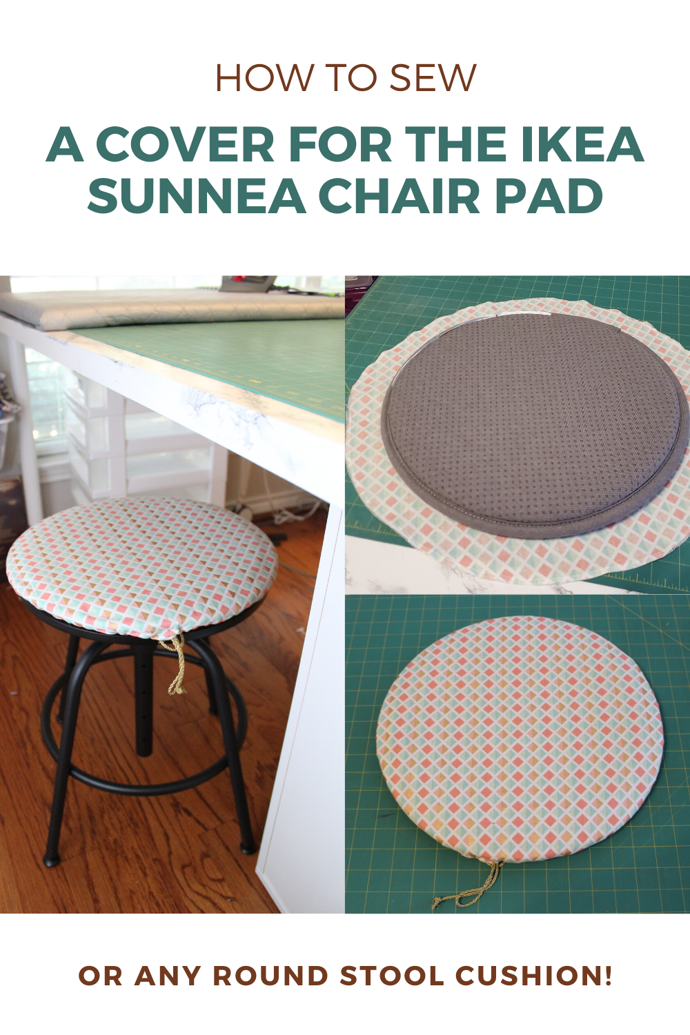 How To Sew A Round Cushion Cover Ikea Sunnea Stool Pad Hack In 2020 Round Cushion Round Chair Cushions Diy Cushion Covers
