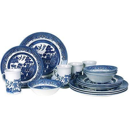 Blue Willow 32 Piece Dinnerware Set Walmart Com Dinnerware Set Blue Willow Dishes Blue Willow