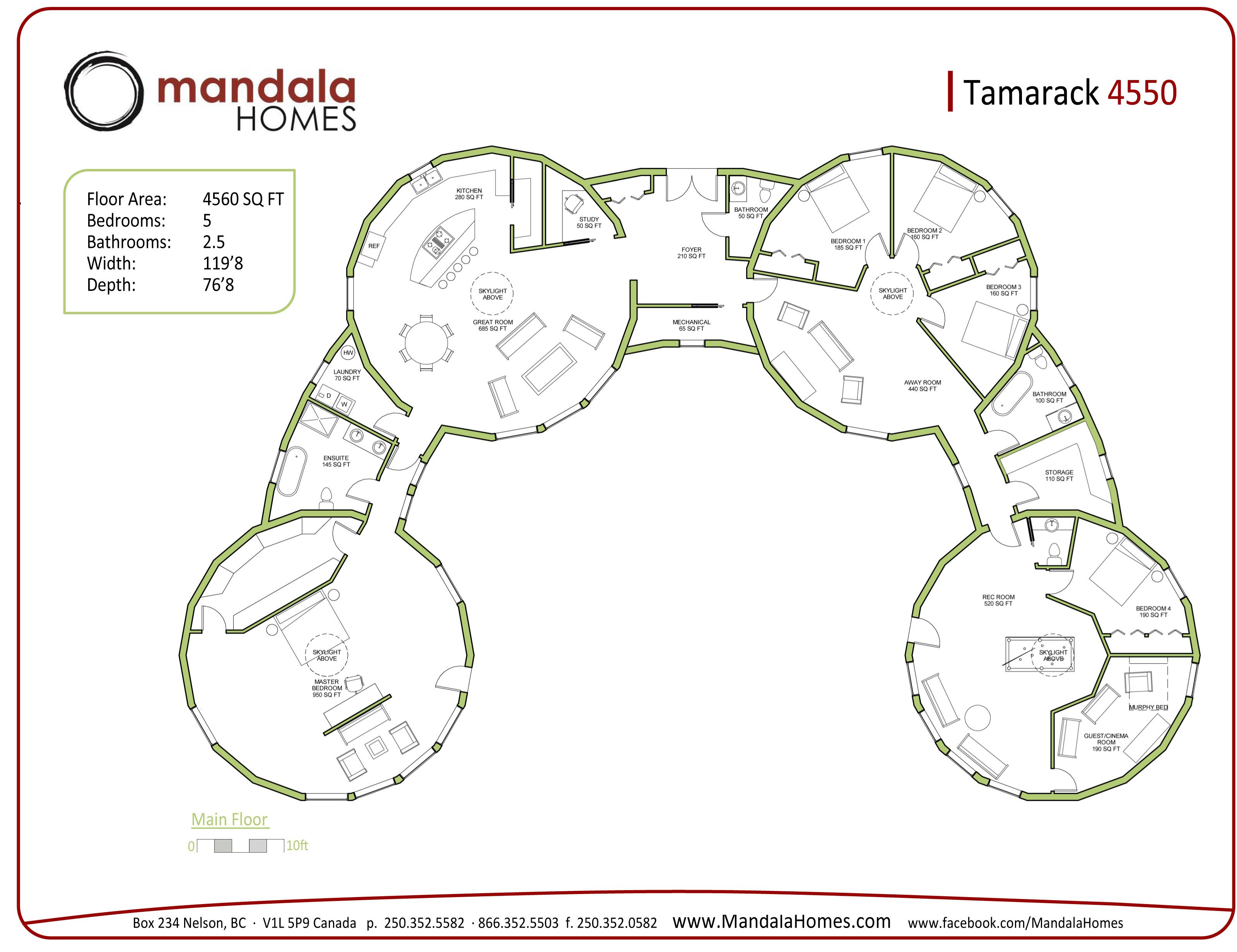 Tamarack series floor plans mandala homes prefab round for Luxury custom floor plans
