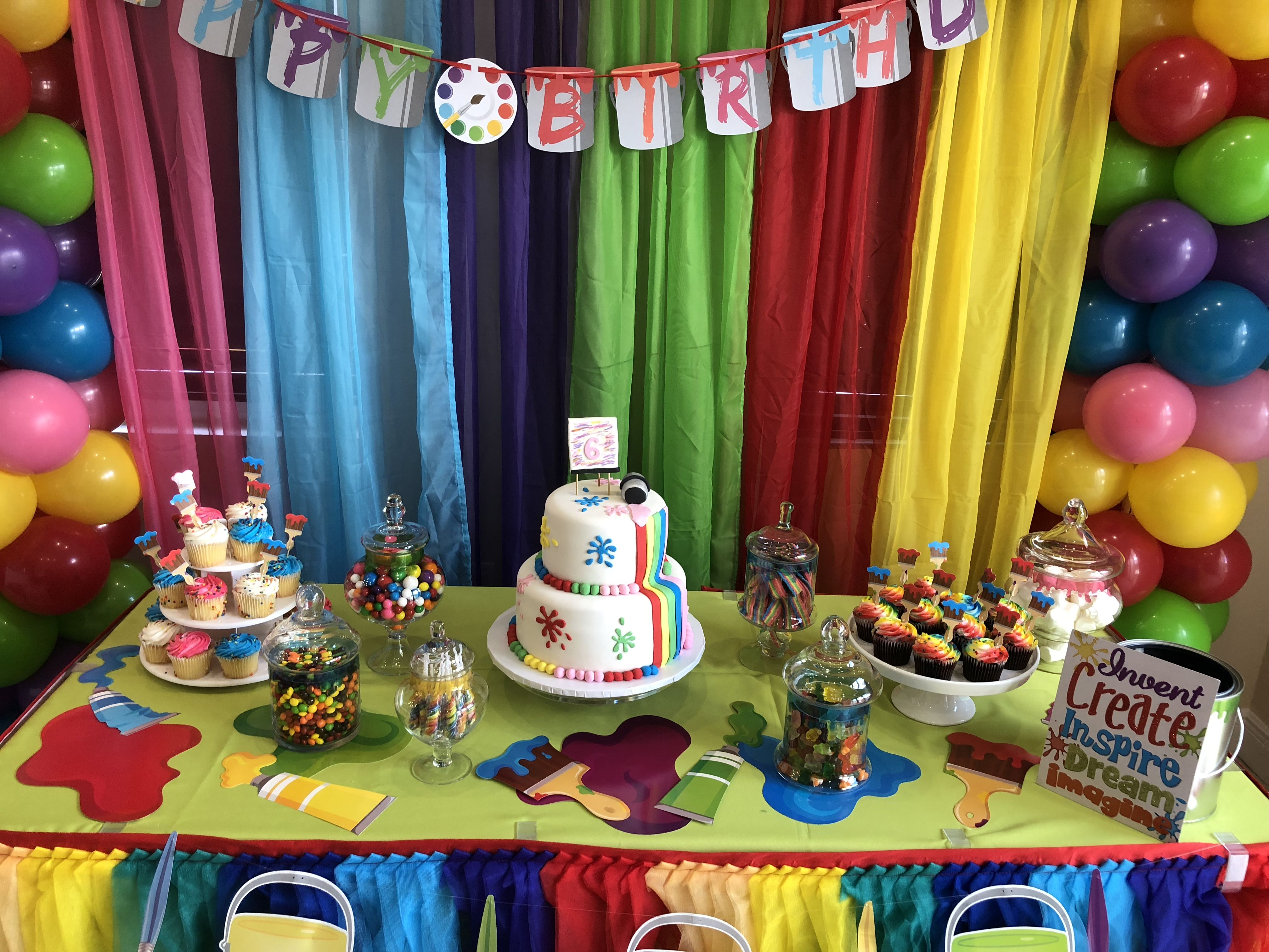 Astounding Painting Party Cake Table Decoration Party Cake Table Kids Personalised Birthday Cards Cominlily Jamesorg