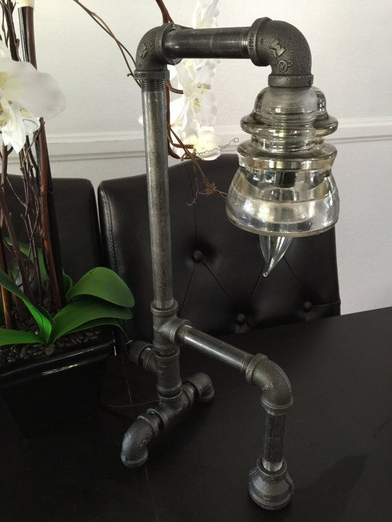 Glass insulator black pipe table lamp by Ijlights on Etsy
