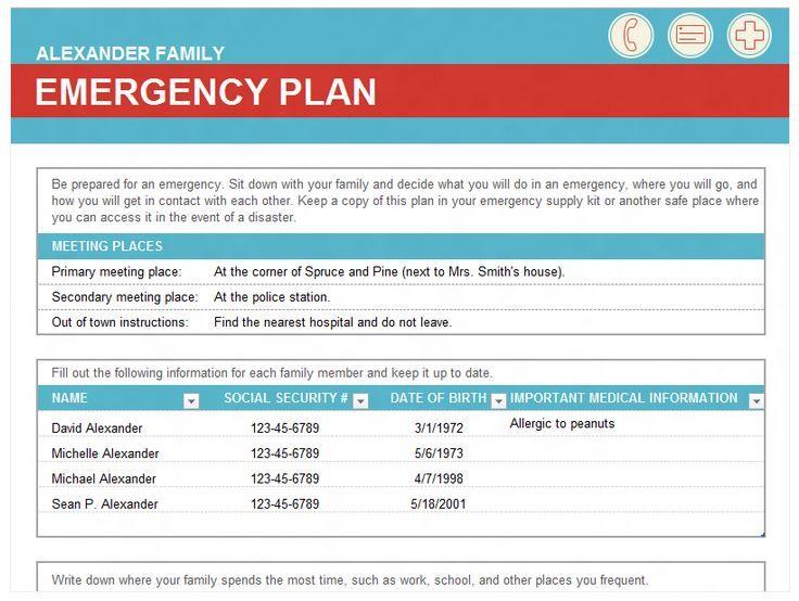 free emergency family plan template an organized home pinterest
