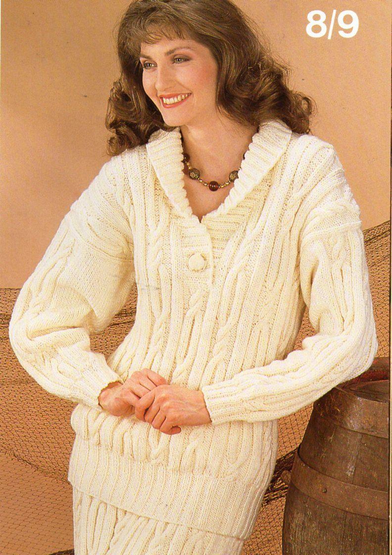 Womens aran sweater skirt suit knitting pattern pdf ladies cable ...