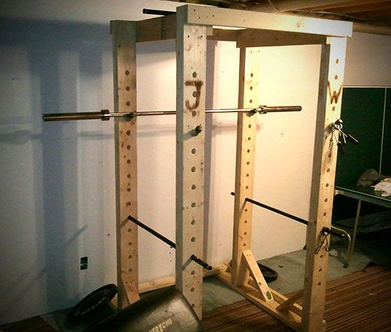 Homemade wooden power rack gym and garage