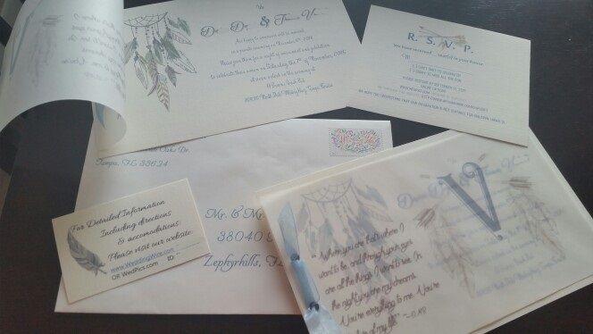 DIY Creative Native Wedding Invitations - Dream Catcher - DMB - Native American - One of a kind - Unique