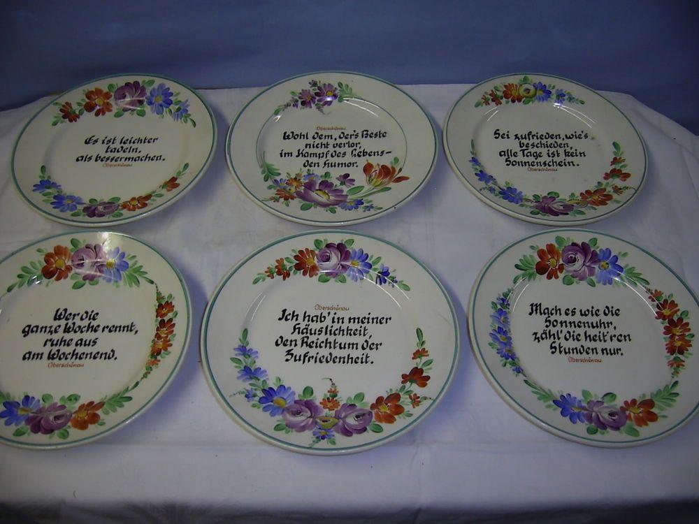 7 Teller mit Sprüche \ Blumendekor, Anton Ott Dresden, Oberschönau - küche gebraucht dresden