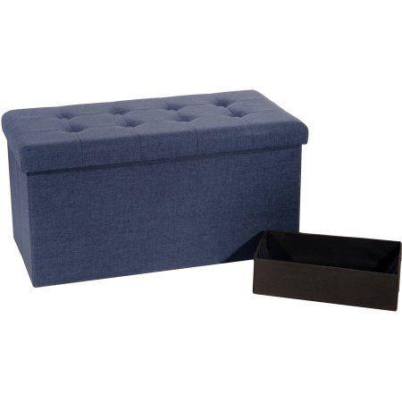 Seville Classics Foldable Storage Bench/Ottoman, Blue