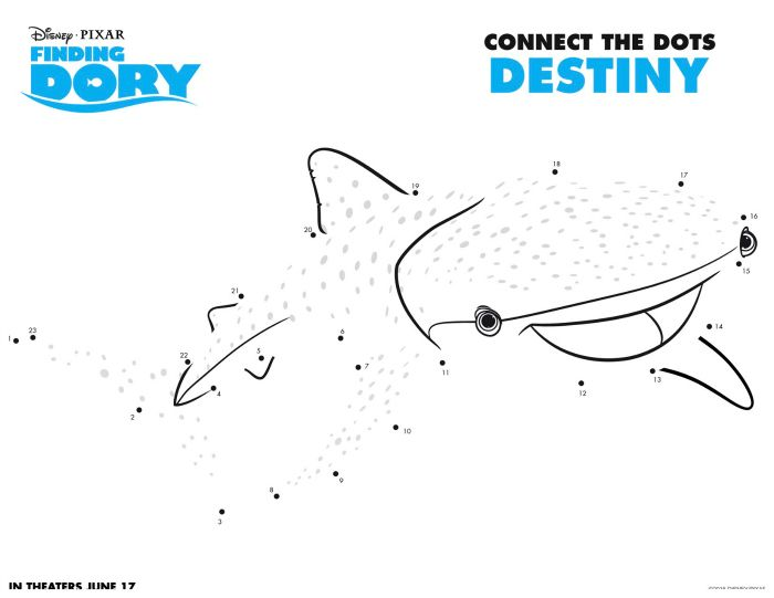 Disney Finding Dory Destiny Connect The Dots Coloring Page Disney - new pixar coloring pages finding nemo