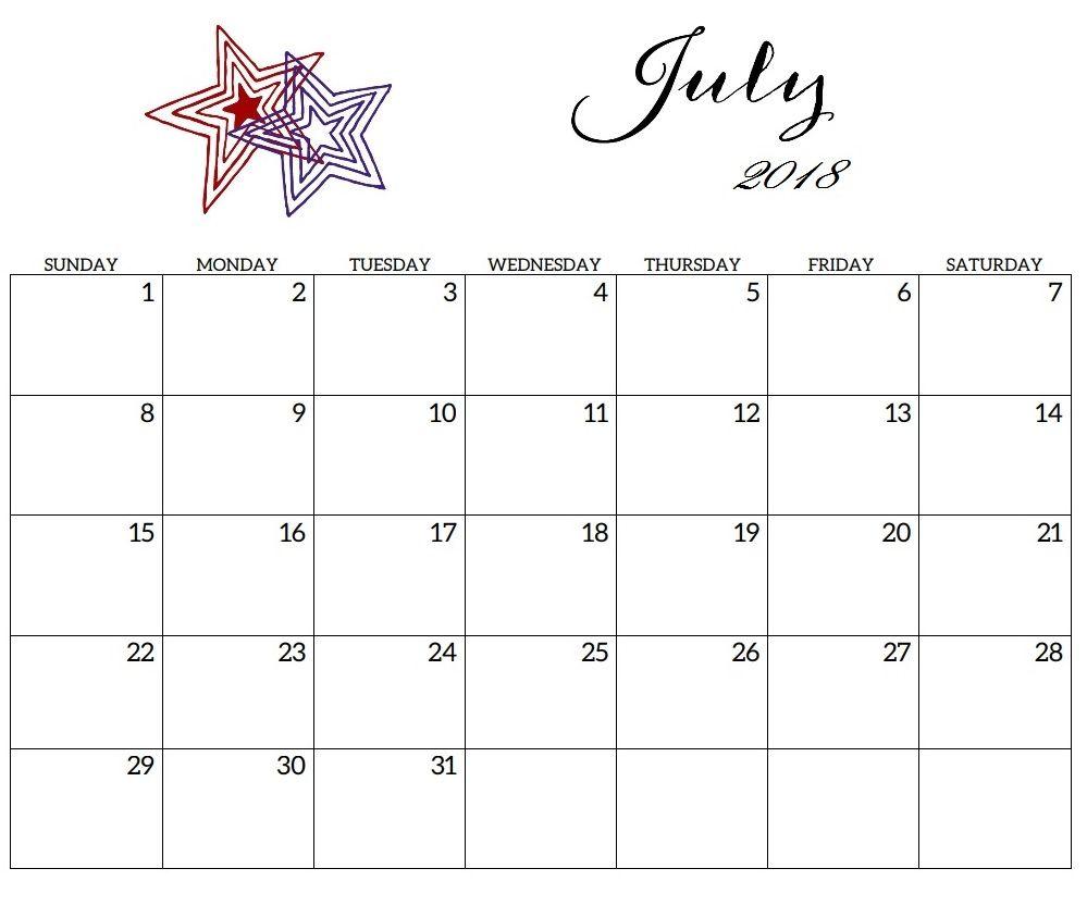 July 2018 Calendar For Office Desk Office Desk Calendar