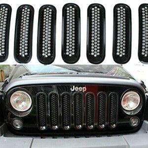 Sunroadtek Black Jeep Front Mesh Grille Insert Kit Jeep Wrangler