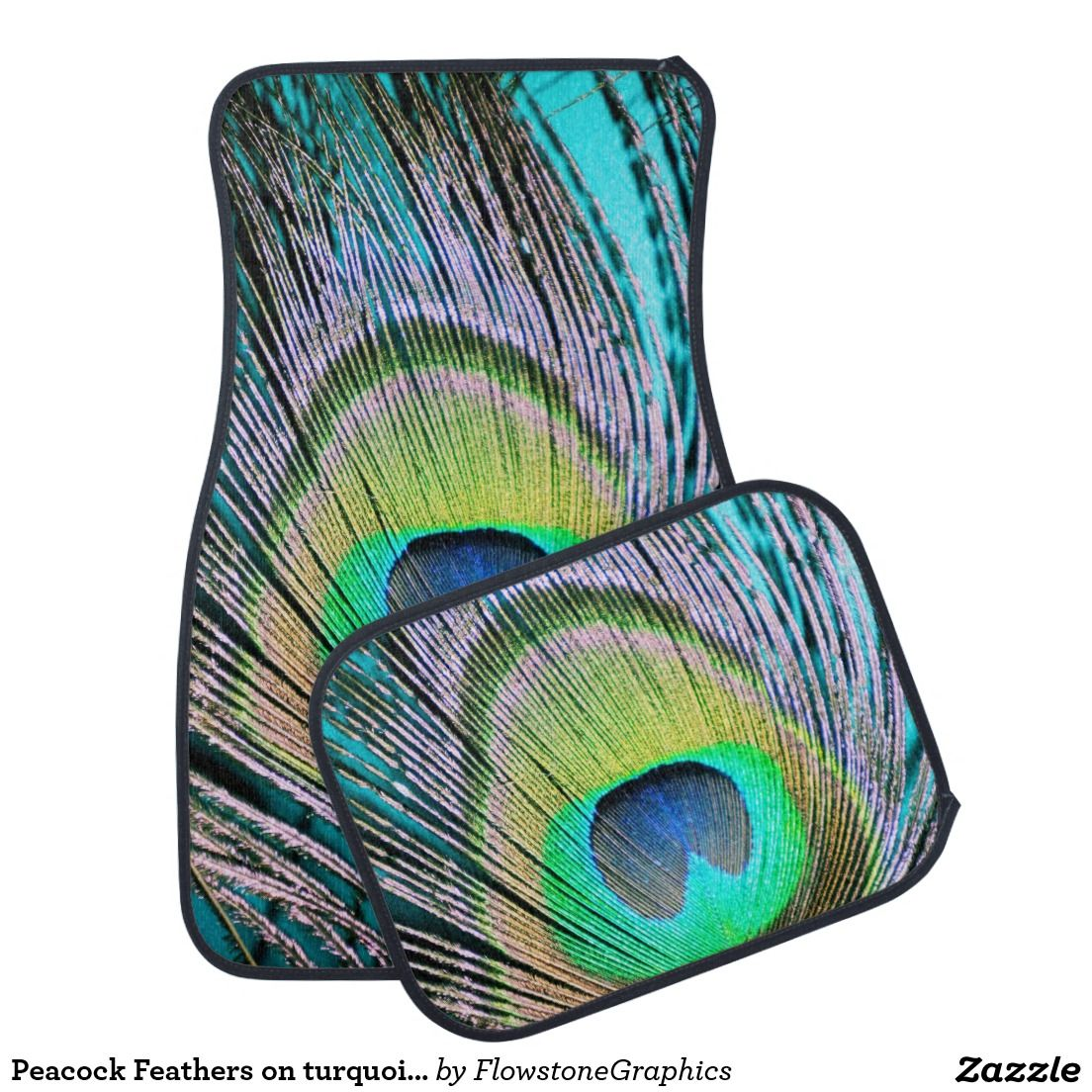 Peacock Feathers On Turquoise Car Floor Mat Cars Trucks