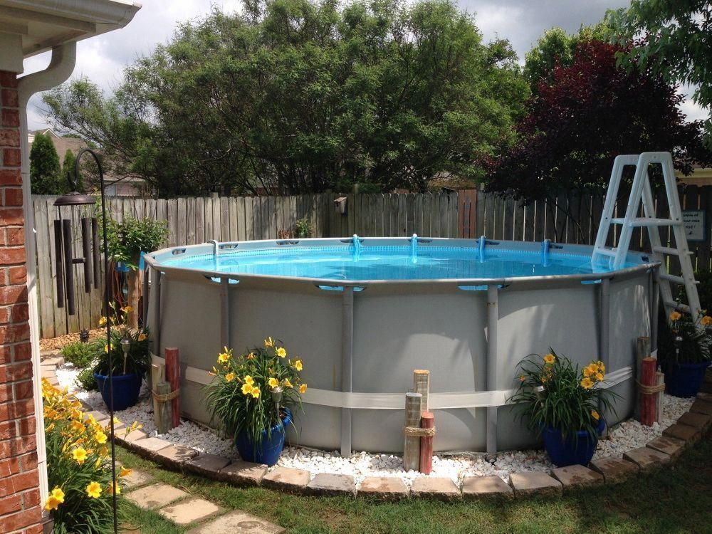 Above Ground Pools With Decks 20 Awesome Photo An Essential Guide For Th Backyard Pool Landscaping Above Ground Pool Landscaping Swimming Pool Landscaping