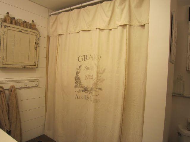 Grain Sack Inspired Shower Curtains Drop Cloth Pennies Primitives
