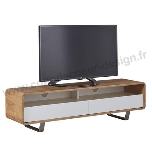 meuble tv scandinave en chene et laque