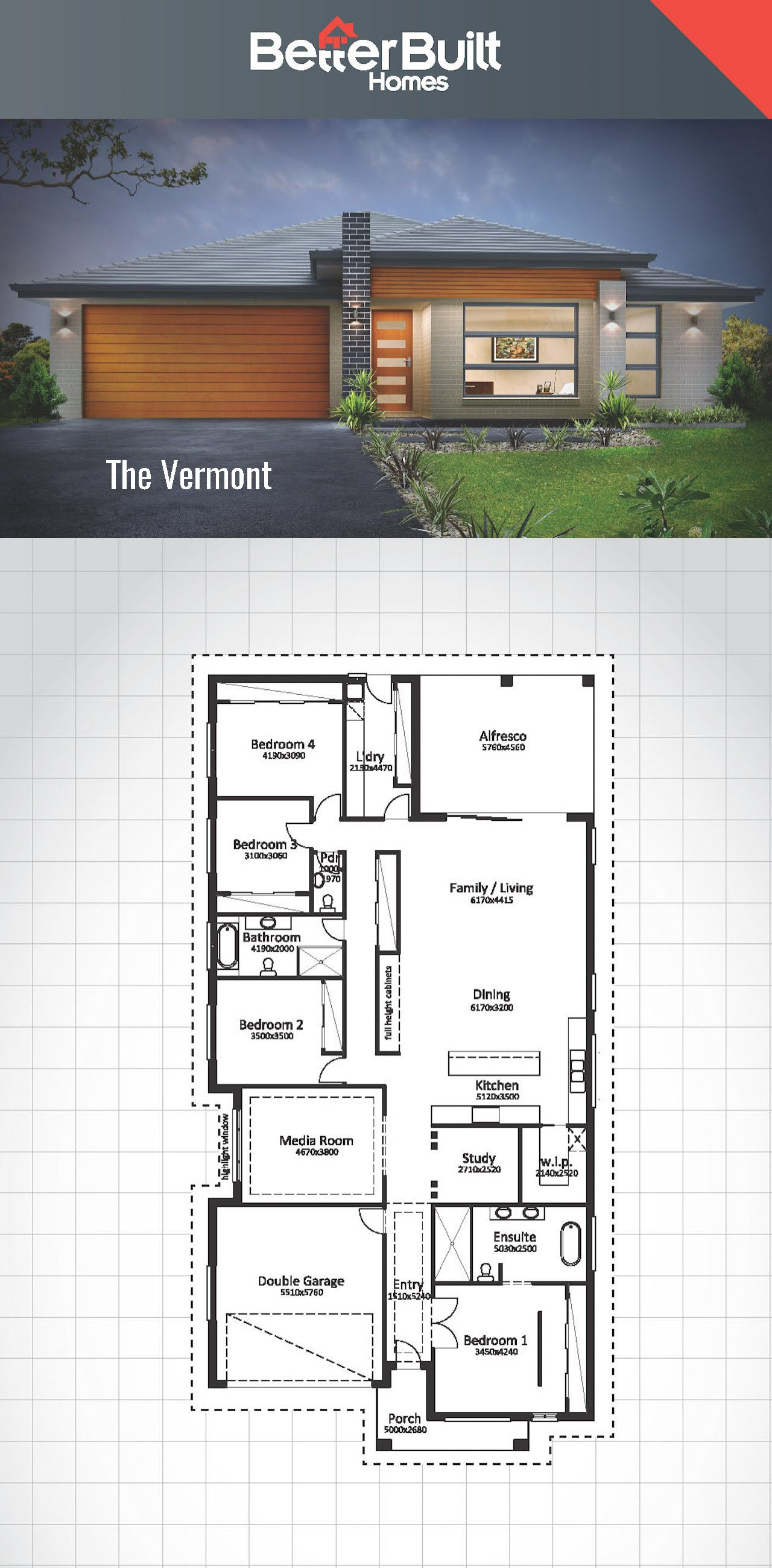 The vermont single storey house design betterbuilt for Single storey floor plan