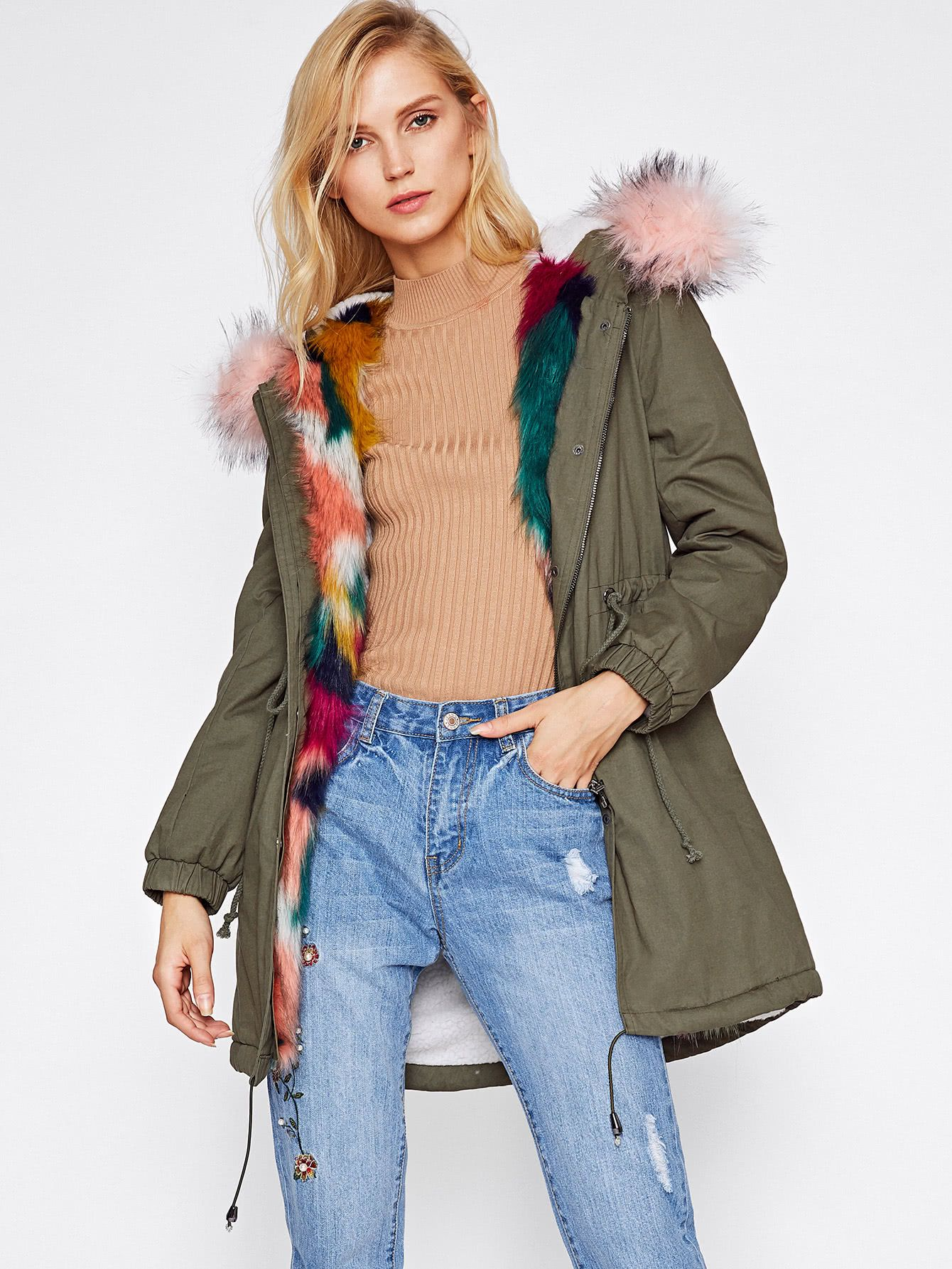 Shop Faux Fur Trim Split Back Parka Coat online. SheIn offers Faux ...