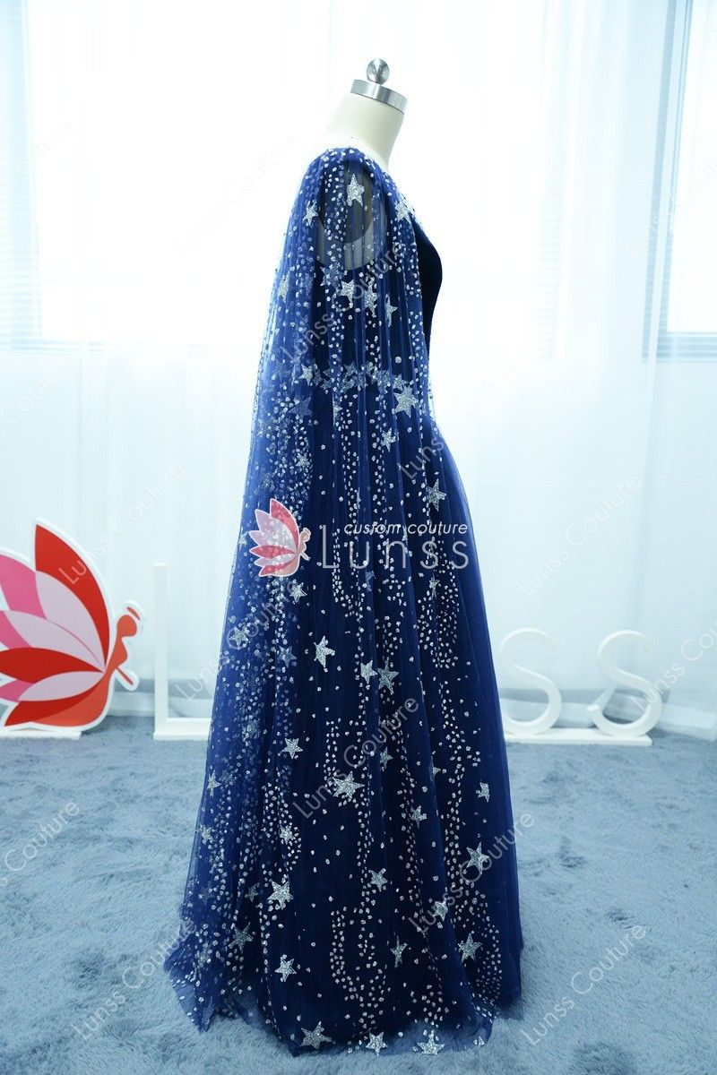 Starry Night Sky Stars And Moons Beaded Long Navy Prom Dress Prom Night Dress Starry Night Dress Dresses [ 1200 x 800 Pixel ]