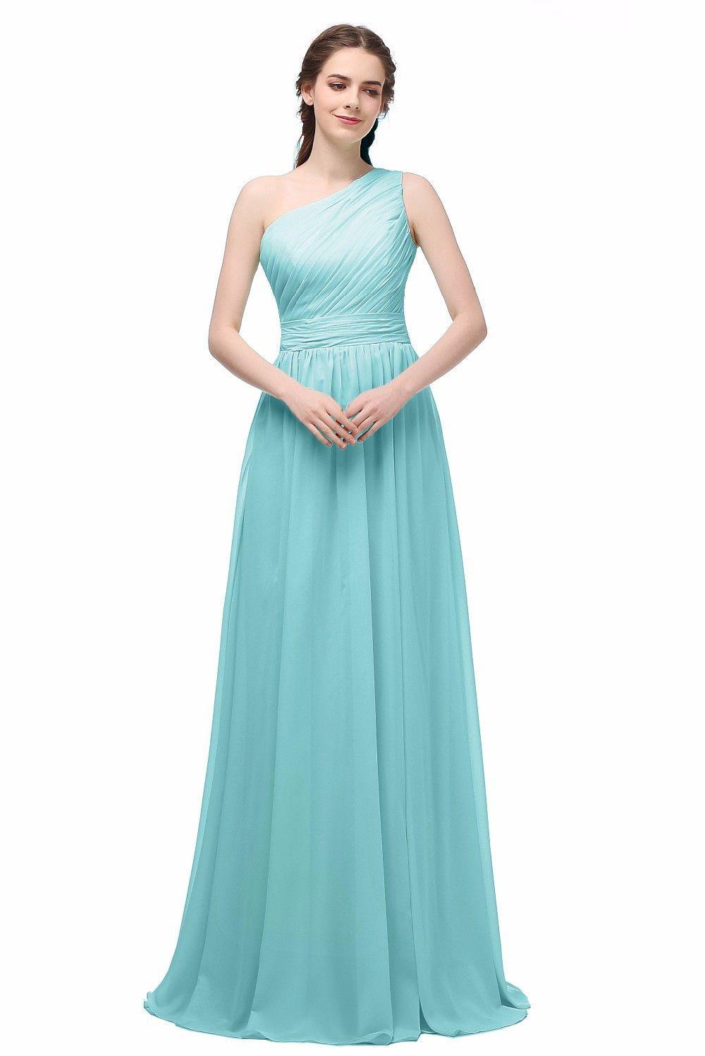 Long Chiffon one shoulder Bridesmaid Dress   Bridal stores, Bride ...
