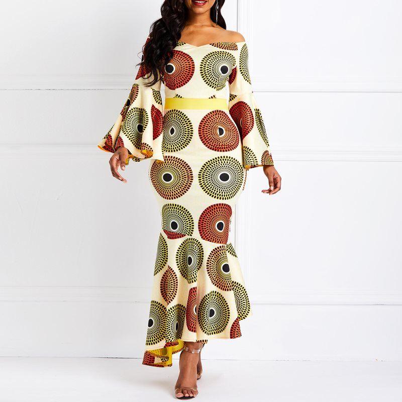 24fee52b8c3d0 Clocolor Women Maxi Dress Elegant Orange Print Mermaid Flare Long ...