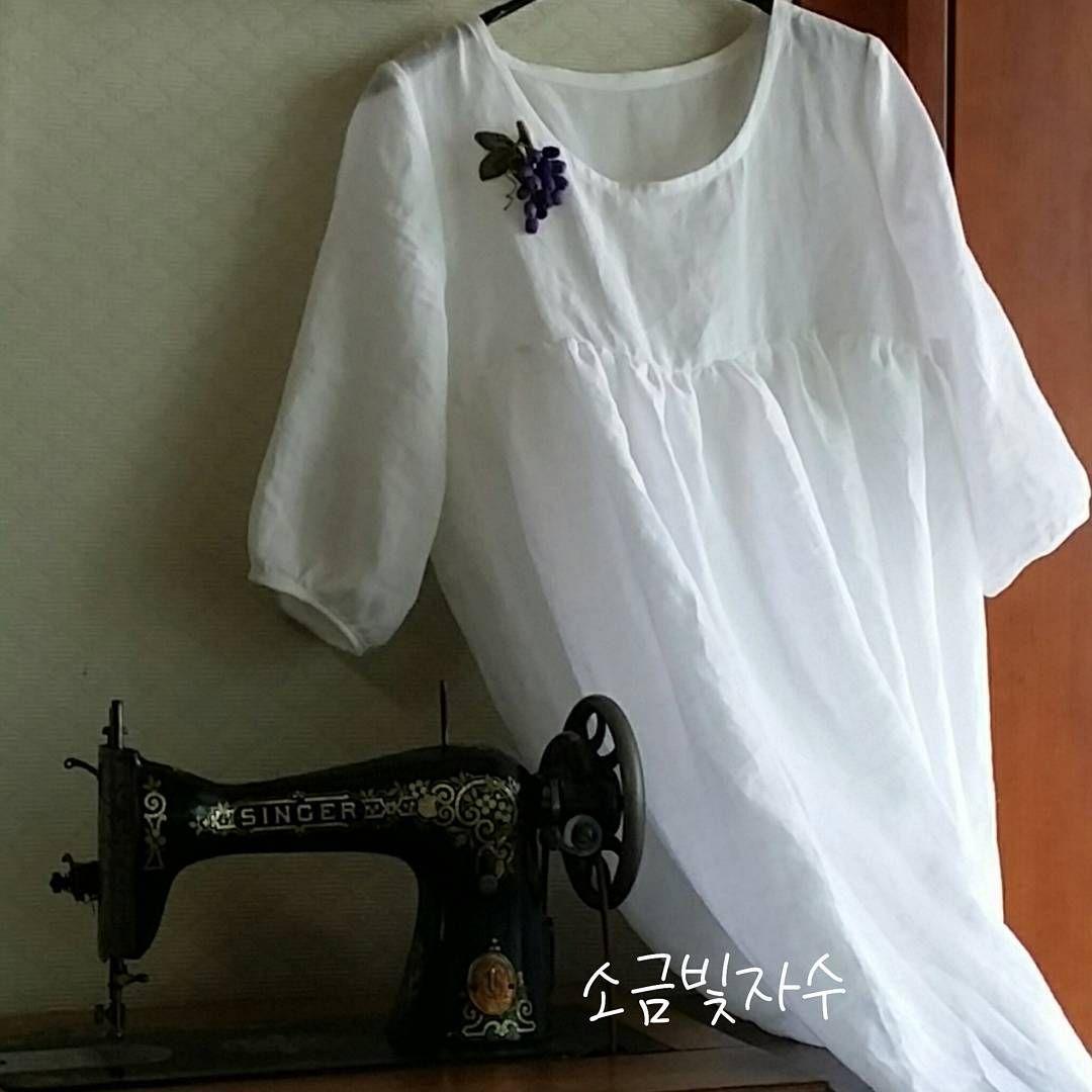 #흰리넨원피스 #만든옷 #소금빛자수 #linenclothes #whitelinen #linen